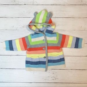 baby Gap knitted striped sweater with hood